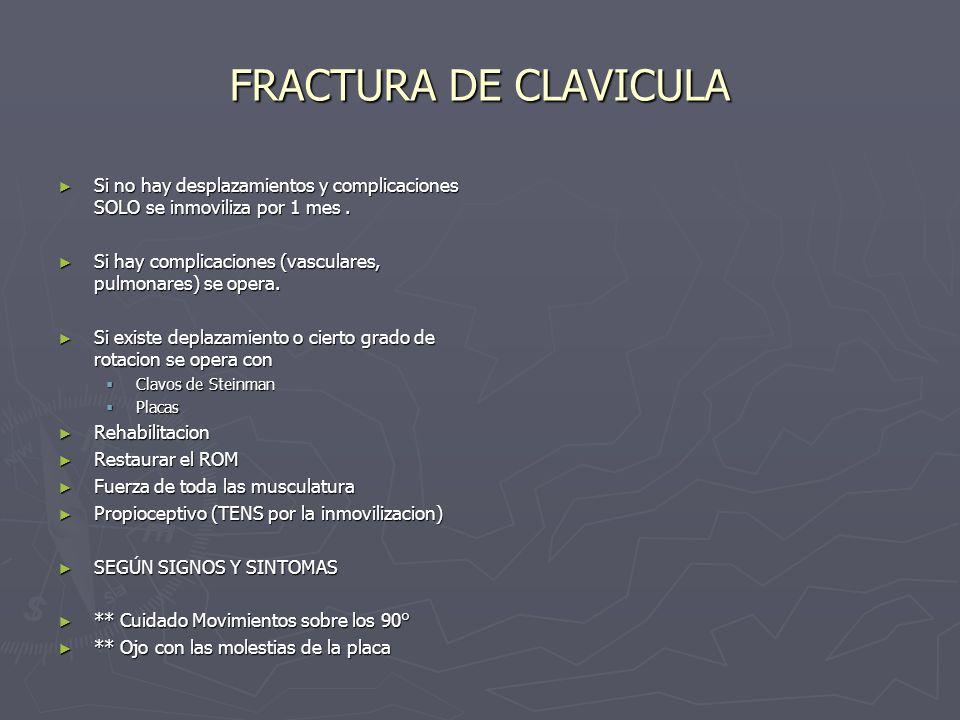 FRACTURA DE CLAVICULA Si no hay desplazamientos y complicaciones SOLO se inmoviliza por 1 mes. Si no hay desplazamientos y complicaciones SOLO se inmo