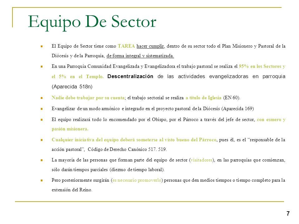 Es conveniente que la sectorización se haga en múltiplos de cuatro (4, 8, 12). Con el fin de facilitar las reuniones y entrega de reportes. Cada secto
