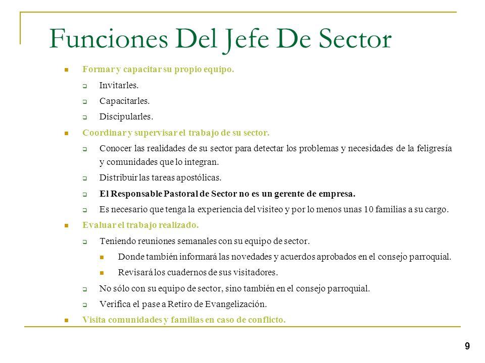 El Jefe De Sector El equipo de sector es coordinado por el Jefe de sector. Que también podemos llamar Responsable Pastoral de Sector. Este Responsable