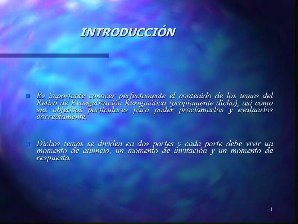 1 n Es importante conocer perfectamente el contenido de los temas del Retiro de Evangelización Kerigmática (propiamente dicho), así como sus objetivos