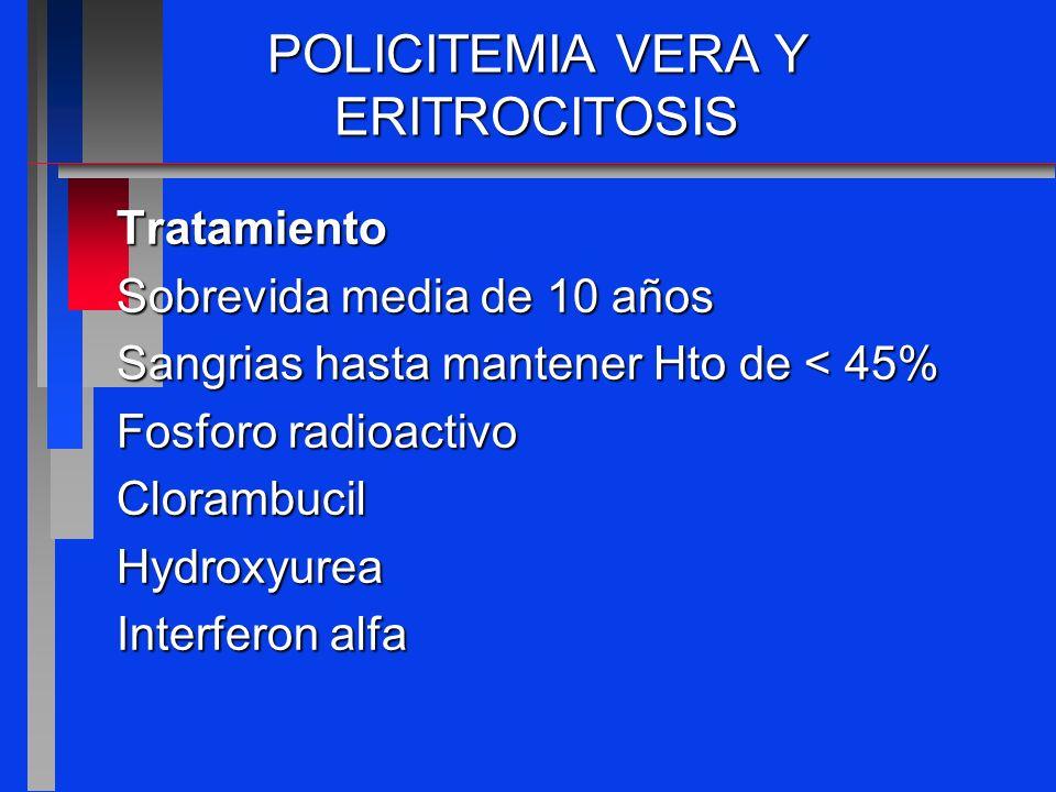 POLICITEMIA VERA Y ERITROCITOSIS Tratamiento Sobrevida media de 10 años Sangrias hasta mantener Hto de < 45% Fosforo radioactivo ClorambucilHydroxyure