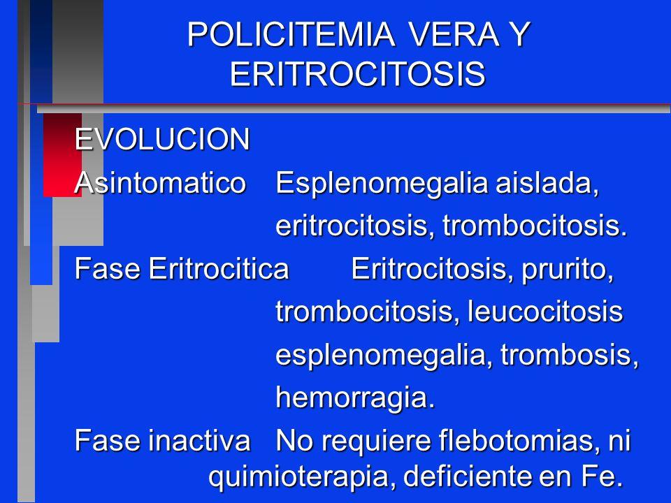 POLICITEMIA VERA Y ERITROCITOSIS Metaplasia mieloideAnemia, sintomas pospolicitemicasistemicos,trombocitosis, trombopenia,esplenomegalia progresiva.