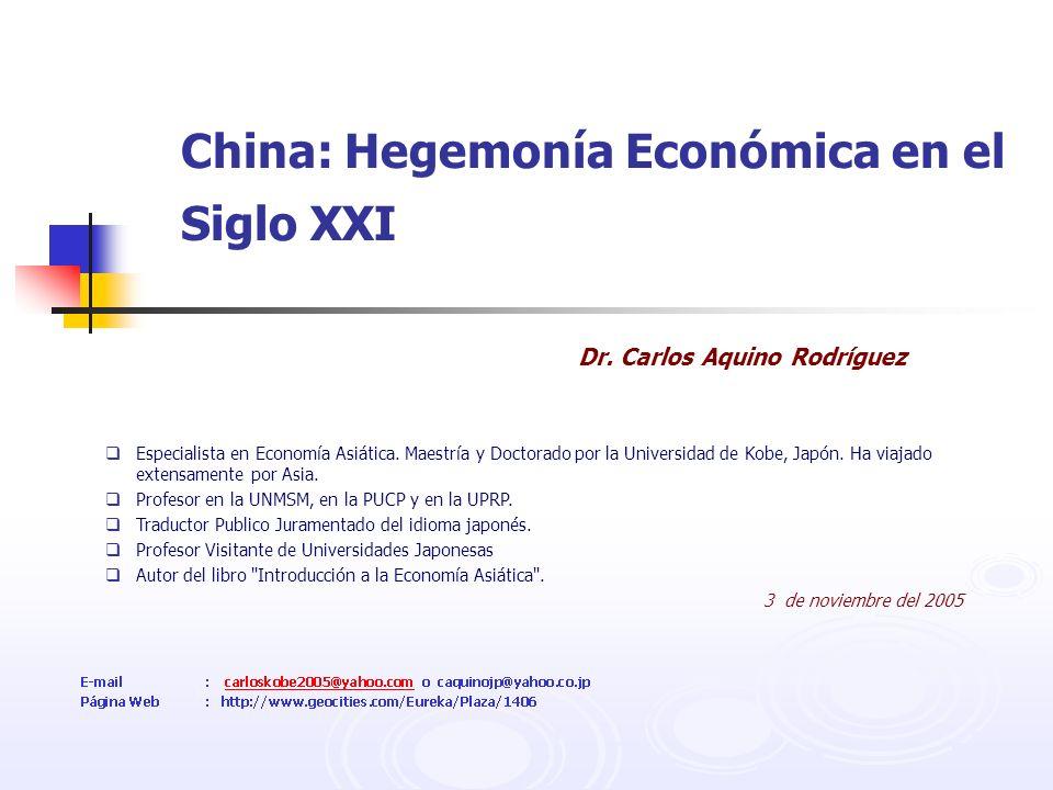 China: Hegemonía Económica en el Siglo XXI Dr. Carlos Aquino Rodríguez Especialista en Economía Asiática. Maestría y Doctorado por la Universidad de K