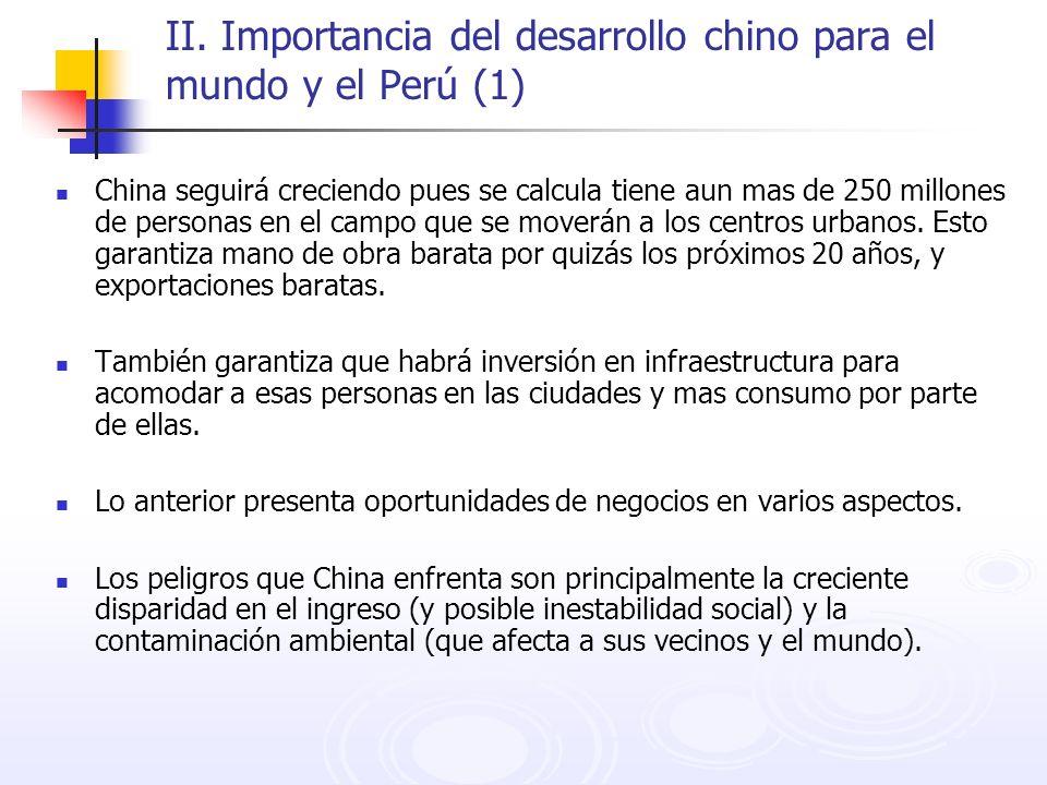 II. Importancia del desarrollo chino para el mundo y el Perú (1) China seguirá creciendo pues se calcula tiene aun mas de 250 millones de personas en
