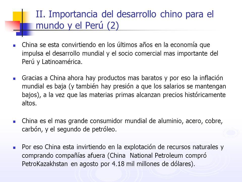 II. Importancia del desarrollo chino para el mundo y el Perú (2) China se esta convirtiendo en los últimos años en la economía que impulsa el desarrol