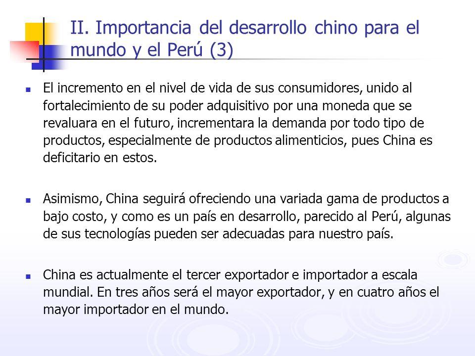 II. Importancia del desarrollo chino para el mundo y el Perú (3) El incremento en el nivel de vida de sus consumidores, unido al fortalecimiento de su
