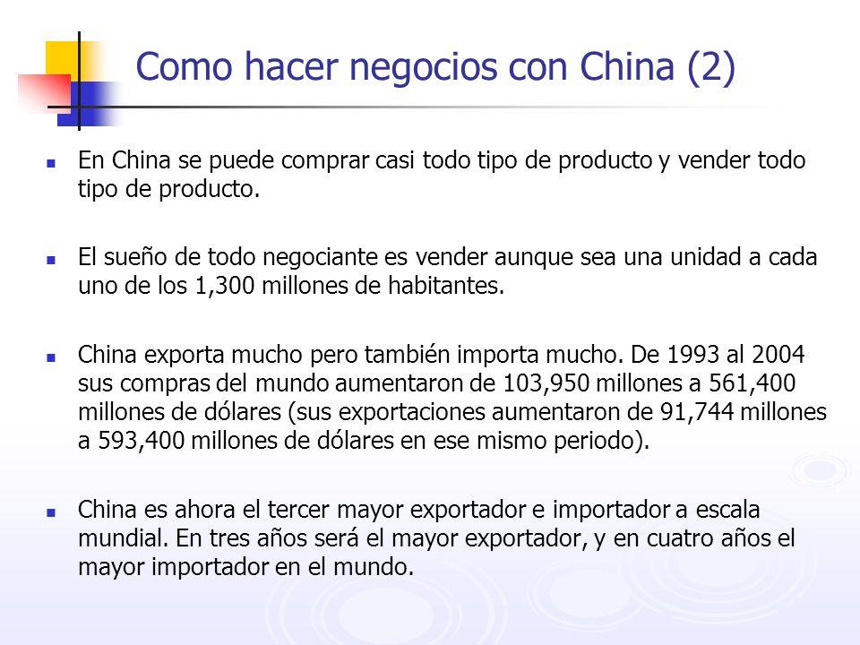 Como hacer negocios con China (2) En China se puede comprar casi todo tipo de producto y vender todo tipo de producto. El sueño de todo negociante es