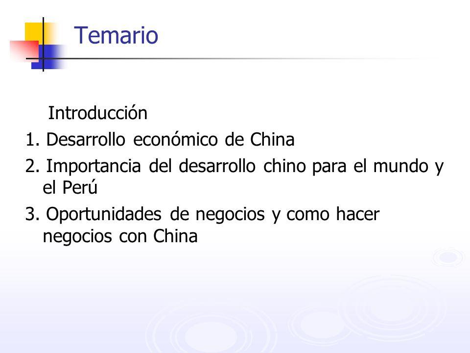 Temario Introducción 1. Desarrollo económico de China 2. Importancia del desarrollo chino para el mundo y el Perú 3. Oportunidades de negocios y como