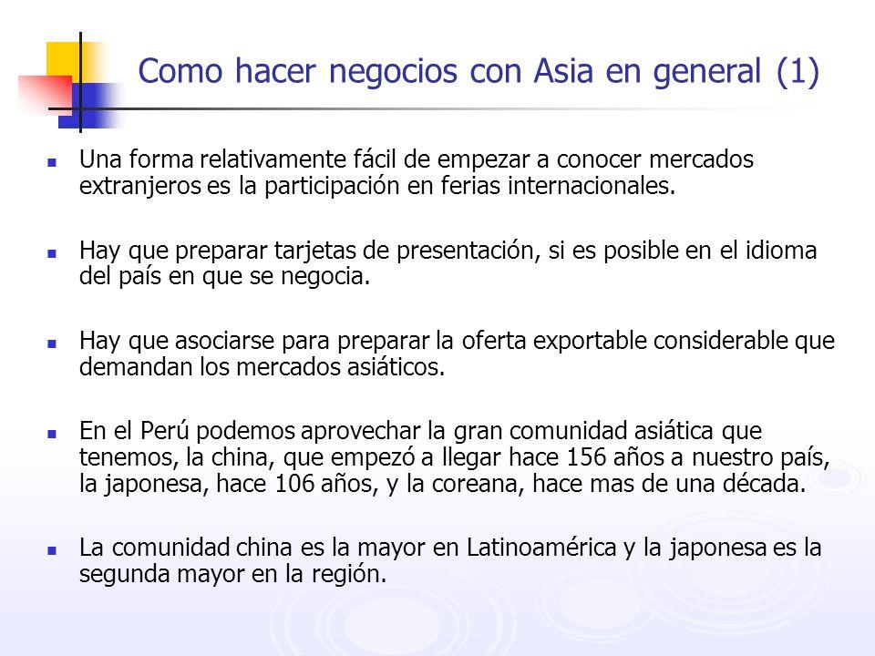 Como hacer negocios con Asia en general (1) Una forma relativamente fácil de empezar a conocer mercados extranjeros es la participación en ferias inte