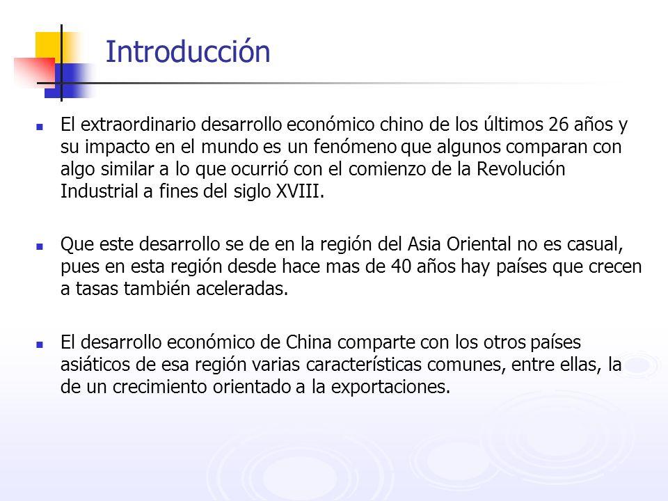 Introducción El extraordinario desarrollo económico chino de los últimos 26 años y su impacto en el mundo es un fenómeno que algunos comparan con algo