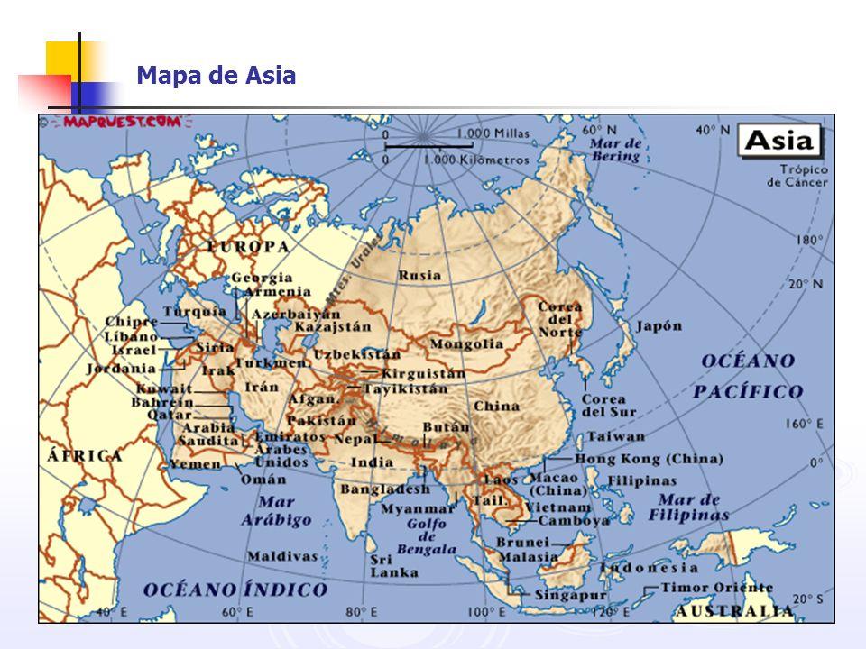 Mapa del Asia Oriental Las dinámicas economías: Japón Corea del Sur Taiwán Hong Kong Singapur Tailandia Malasia Indonesia Filipinas China