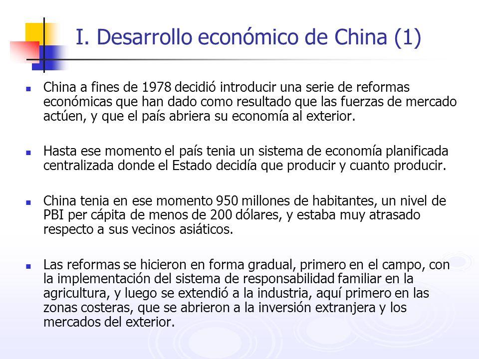I. Desarrollo económico de China (1) China a fines de 1978 decidió introducir una serie de reformas económicas que han dado como resultado que las fue