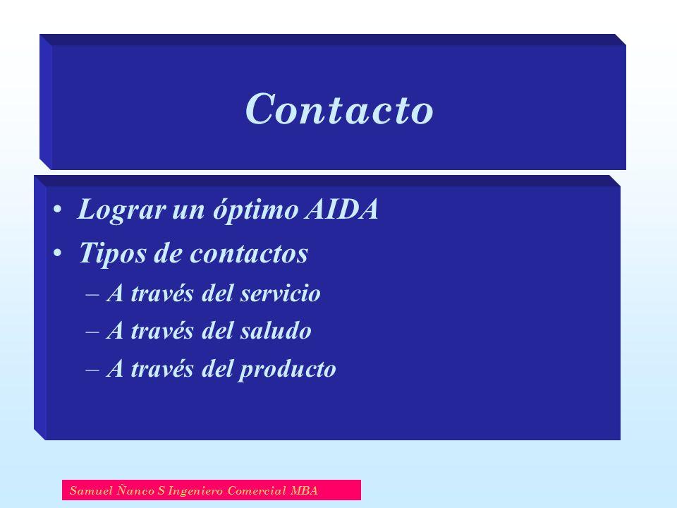 Contacto Lograr un óptimo AIDA Tipos de contactos –A través del servicio –A través del saludo –A través del producto Samuel Ñanco S Ingeniero Comercia