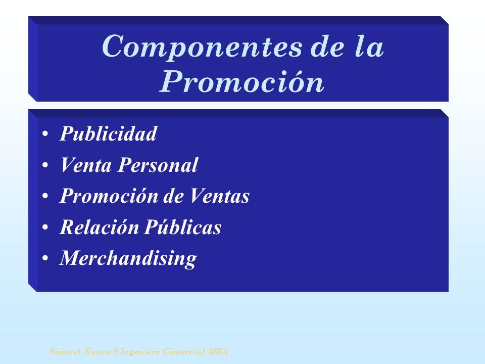 Componentes de la Promoción Publicidad Venta Personal Promoción de Ventas Relación Públicas Merchandising Samuel Ñanco S Ingeniero Comercial MBA