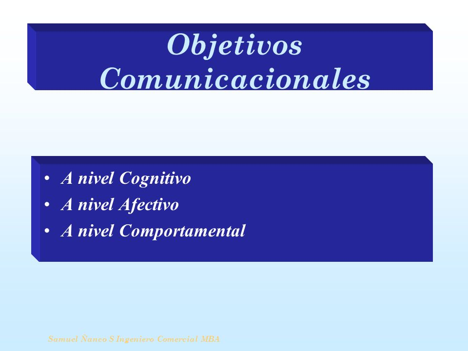 Objetivos Comunicacionales A nivel Cognitivo A nivel Afectivo A nivel Comportamental Samuel Ñanco S Ingeniero Comercial MBA