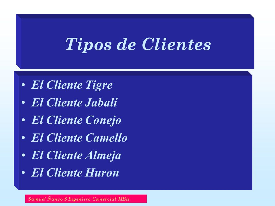 Tipos de Clientes El Cliente Tigre El Cliente Jabalí El Cliente Conejo El Cliente Camello El Cliente Almeja El Cliente Huron Samuel Ñanco S Ingeniero