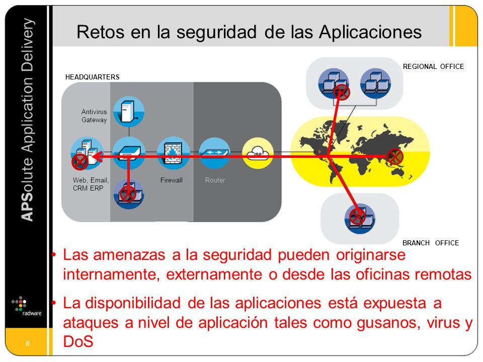 7 Una entrega rápida, fiable y segura de las aplicaciones, dotándolas de Total Disponibilidad (availability), Máximo Rendimiento (performance) y Completa Seguridad (security) en cada uno de los puntos críticos de la red.