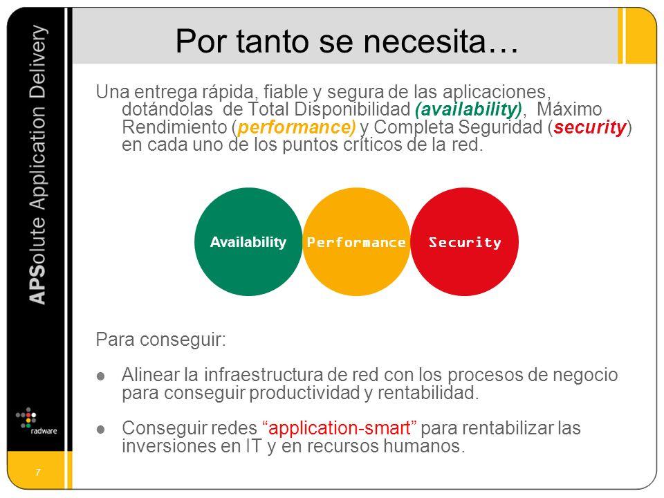 7 Una entrega rápida, fiable y segura de las aplicaciones, dotándolas de Total Disponibilidad (availability), Máximo Rendimiento (performance) y Compl