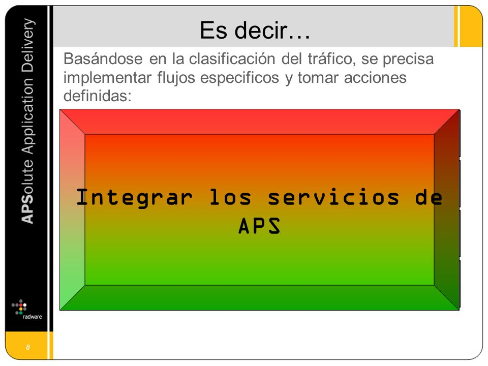8 Es decir… Basándose en la clasificación del tráfico, se precisa implementar flujos especificos y tomar acciones definidas: ClassifyTake actions Secure Manage traffic Accelerate Prioritize Integrar los servicios de APS