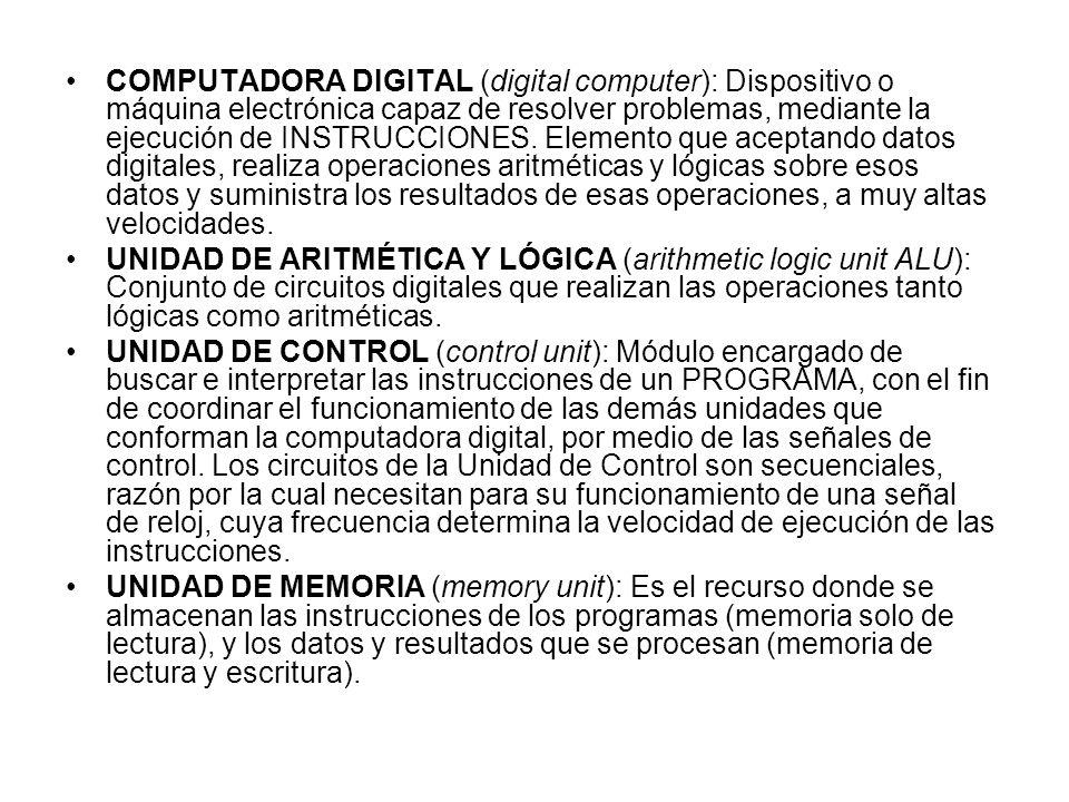 COMPUTADORA DIGITAL (digital computer): Dispositivo o máquina electrónica capaz de resolver problemas, mediante la ejecución de INSTRUCCIONES. Element