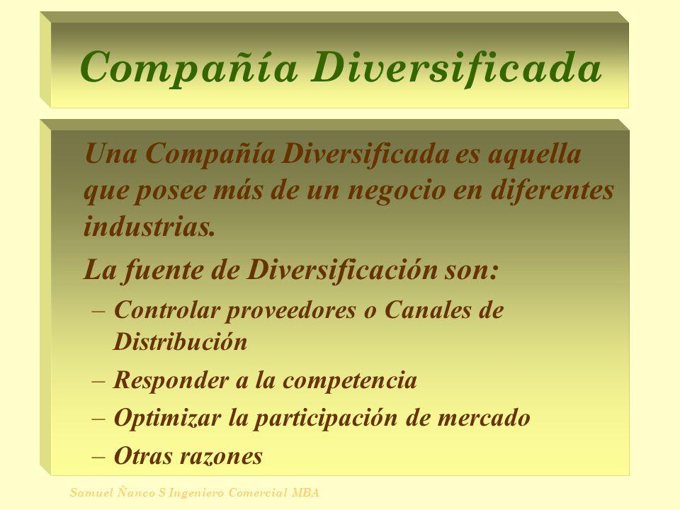 Compañía Diversificada Una Compañía Diversificada es aquella que posee más de un negocio en diferentes industrias. La fuente de Diversificación son: –