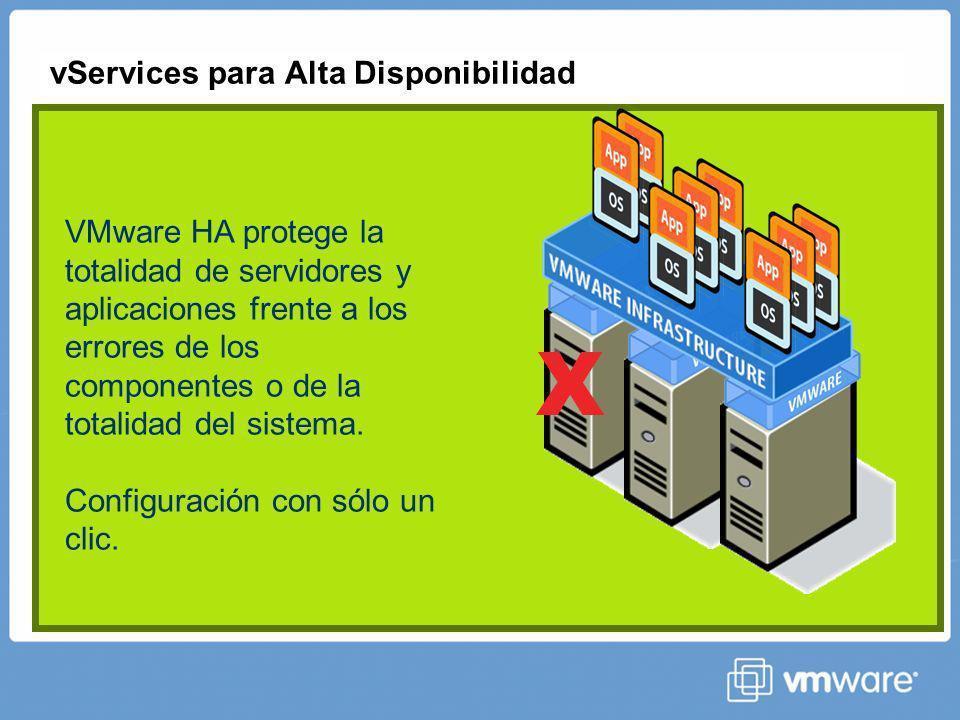 vServices para Alta Disponibilidad X VMware HA protege la totalidad de servidores y aplicaciones frente a los errores de los componentes o de la totalidad del sistema.