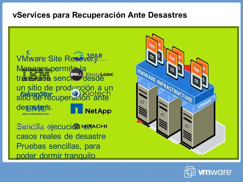 vServices para Recuperación Ante Desastres X VMware Site Recovery Manager permite la transición sencilla desde un sitio de producción a un sitio de recuperación ante desastres.