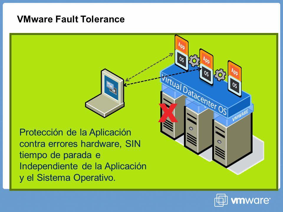 X VMware Fault Tolerance Protección de la Aplicación contra errores hardware, SIN tiempo de parada e Independiente de la Aplicación y el Sistema Operativo.