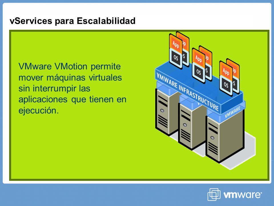 vServices para Escalabilidad Automática VMware Distributed Resource Scheduler equilibra las cargas de trabajo de forma automática según límites y garantías establecidos.