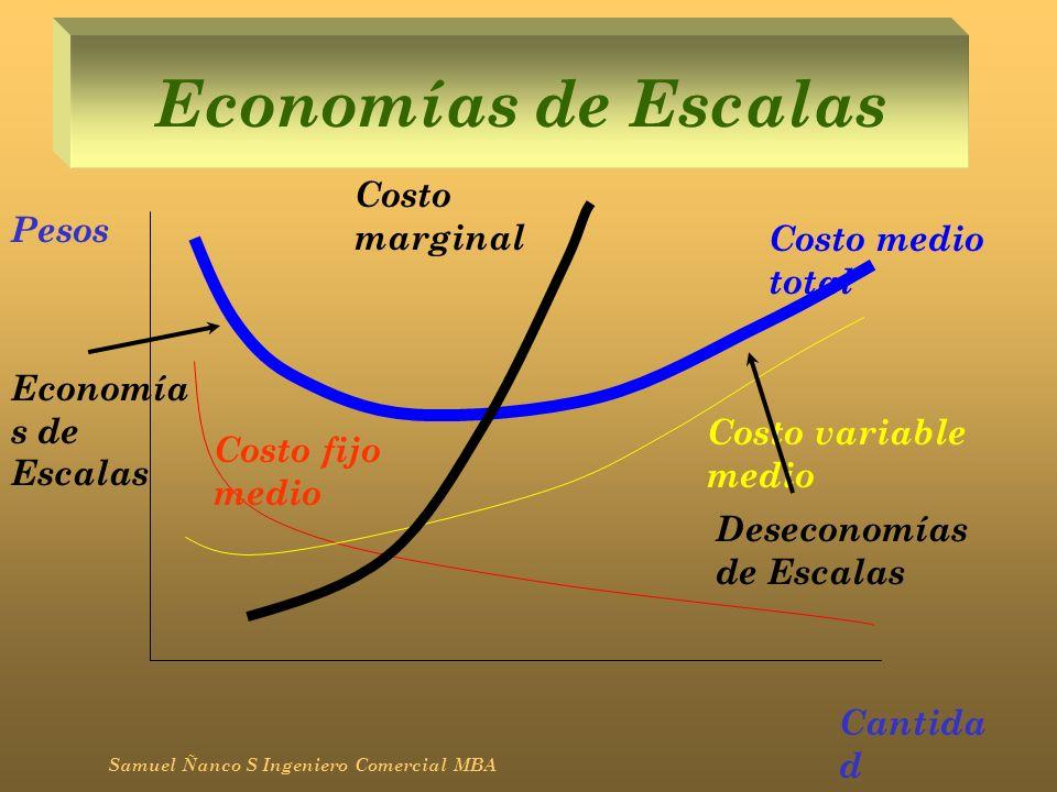 Economías de Escalas Samuel Ñanco S Ingeniero Comercial MBA Pesos Cantida d Costo fijo medio Costo variable medio Costo medio total Costo marginal Eco