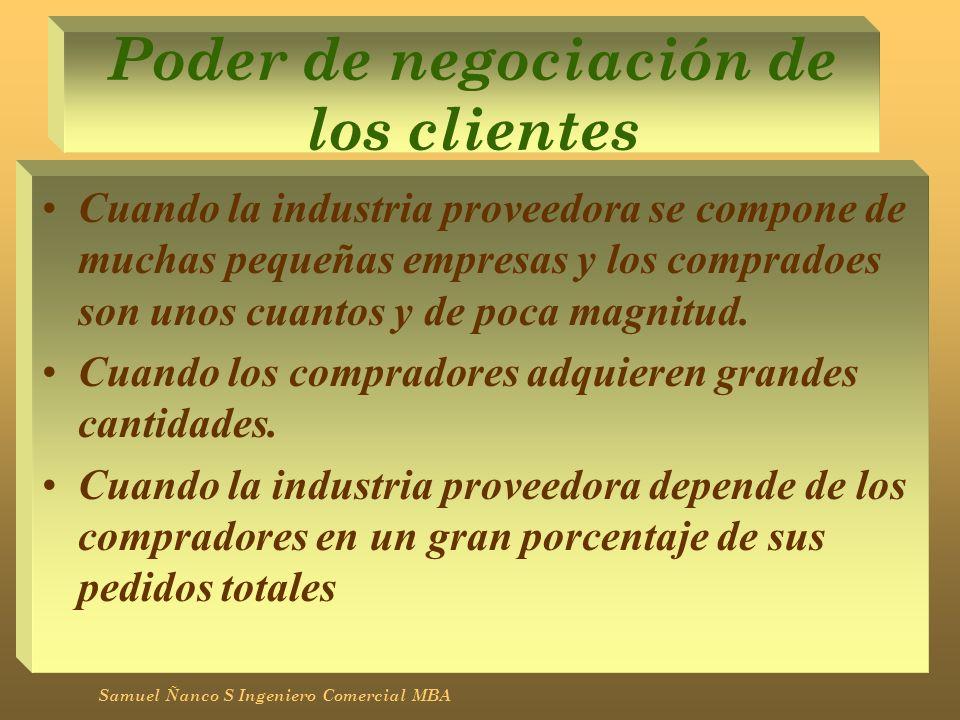 Poder de negociación de los clientes Cuando la industria proveedora se compone de muchas pequeñas empresas y los compradoes son unos cuantos y de poca