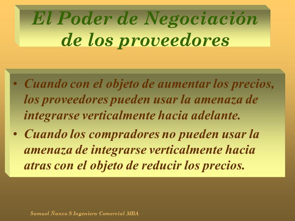 El Poder de Negociación de los proveedores Cuando con el objeto de aumentar los precios, los proveedores pueden usar la amenaza de integrarse vertical