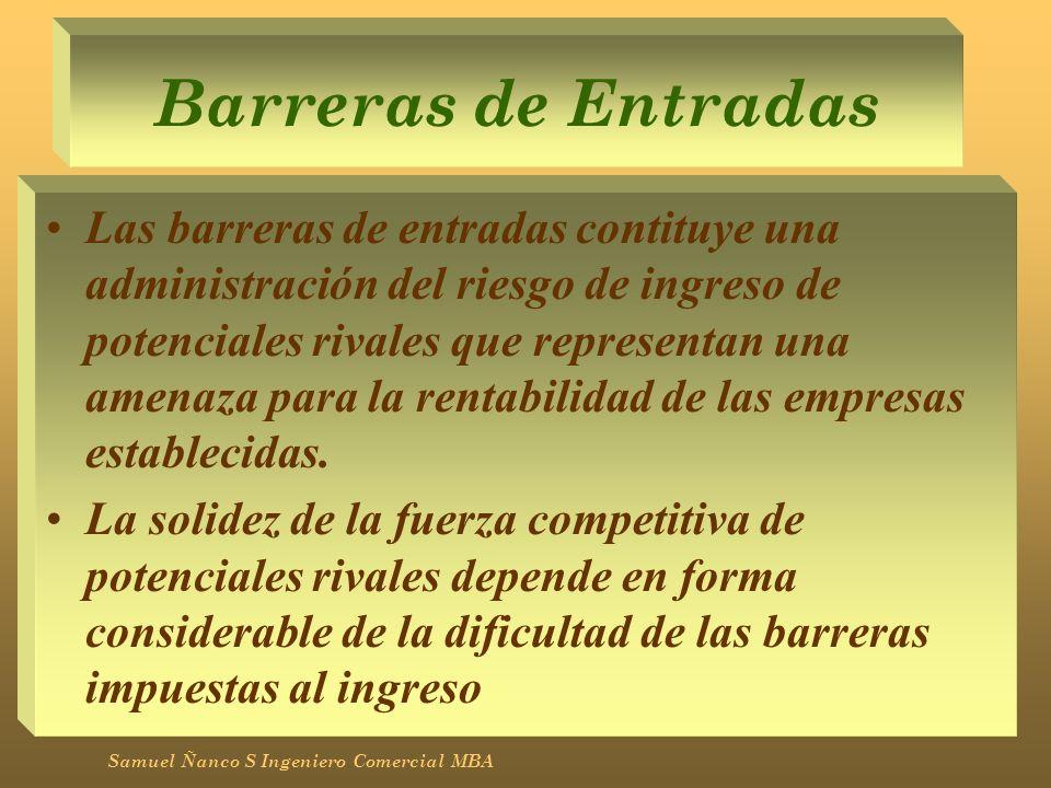 Barreras de Entradas Las barreras de entradas contituye una administración del riesgo de ingreso de potenciales rivales que representan una amenaza pa