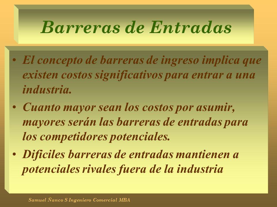 Barreras de Entradas El concepto de barreras de ingreso implica que existen costos significativos para entrar a una industria. Cuanto mayor sean los c