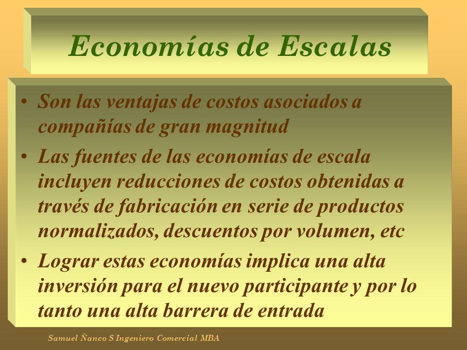 Economías de Escalas Son las ventajas de costos asociados a compañías de gran magnitud Las fuentes de las economías de escala incluyen reducciones de