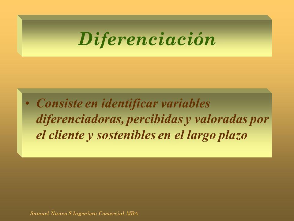 Diferenciación Consiste en identificar variables diferenciadoras, percibidas y valoradas por el cliente y sostenibles en el largo plazo Samuel Ñanco S