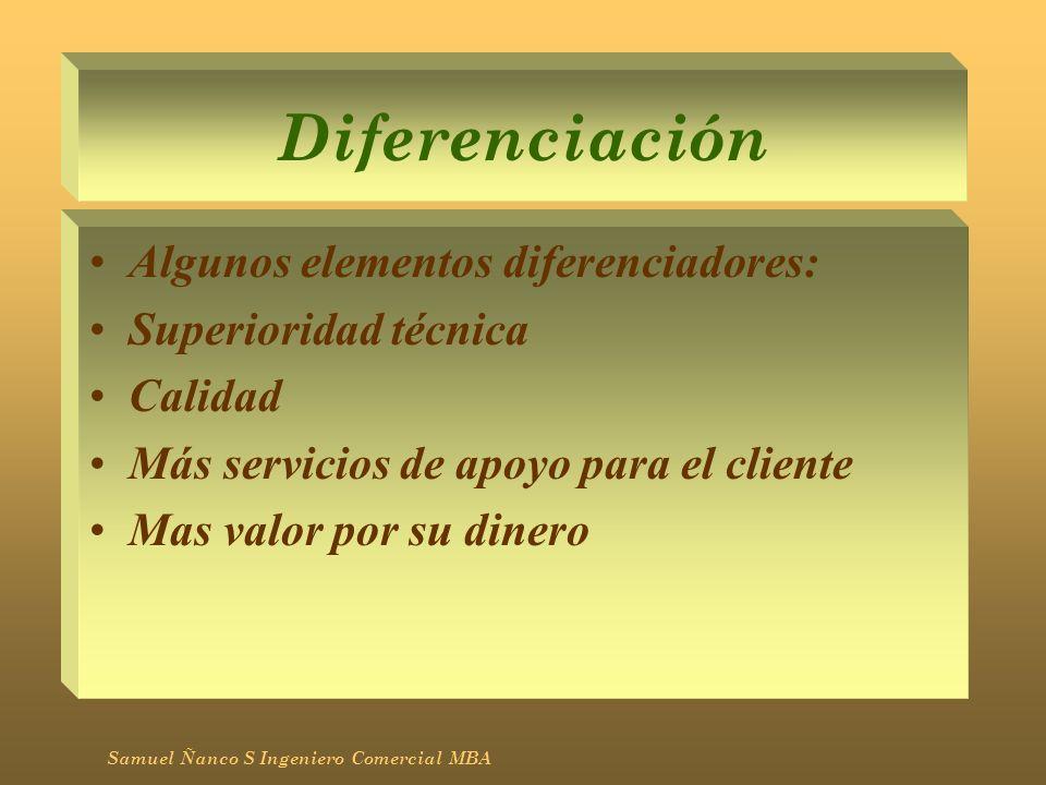 Diferenciación Algunos elementos diferenciadores: Superioridad técnica Calidad Más servicios de apoyo para el cliente Mas valor por su dinero Samuel Ñ