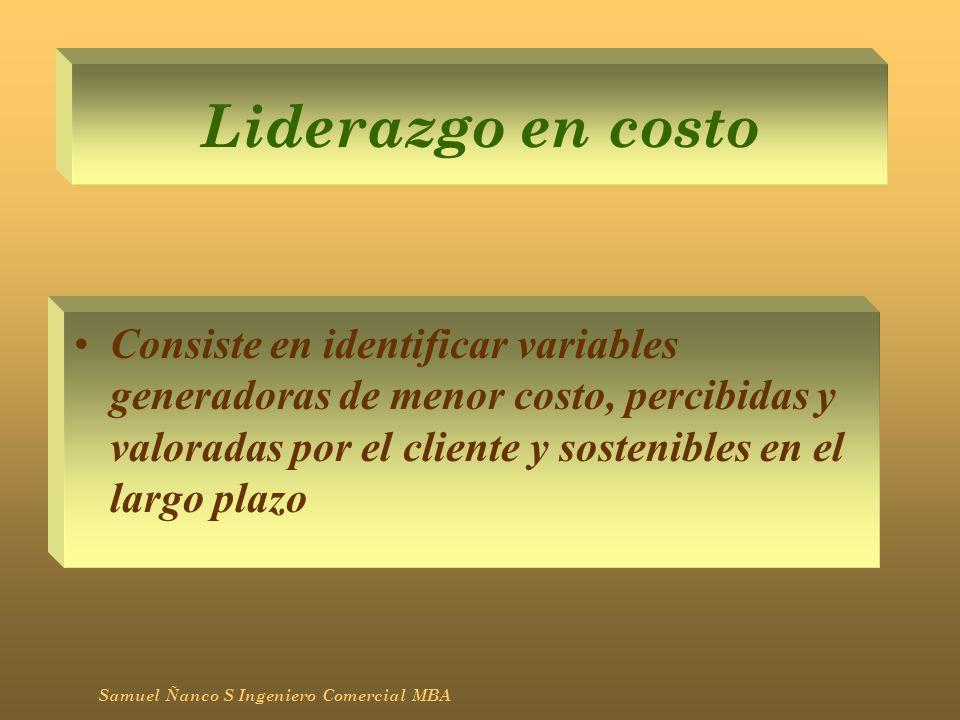 Liderazgo en costo Consiste en identificar variables generadoras de menor costo, percibidas y valoradas por el cliente y sostenibles en el largo plazo