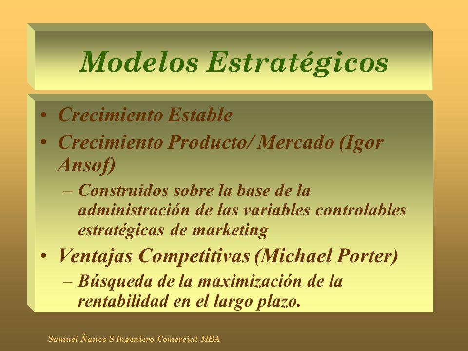 Modelos Estratégicos Crecimiento Estable Crecimiento Producto/ Mercado (Igor Ansof) –Construidos sobre la base de la administración de las variables c