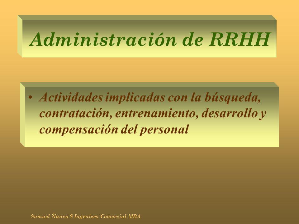 Administración de RRHH Actividades implicadas con la búsqueda, contratación, entrenamiento, desarrollo y compensación del personal Samuel Ñanco S Inge