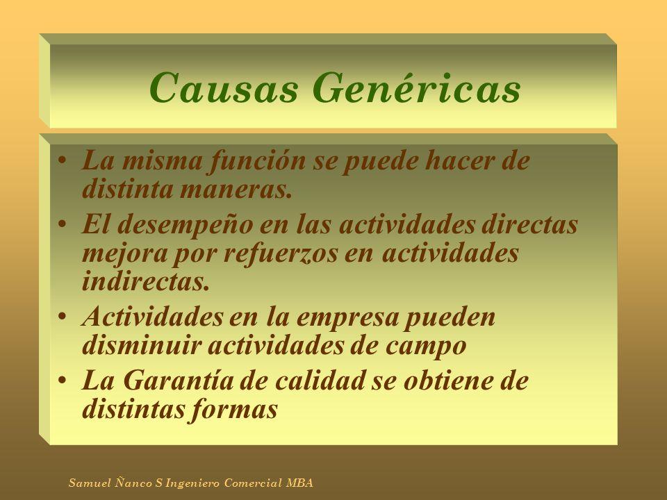 Causas Genéricas La misma función se puede hacer de distinta maneras. El desempeño en las actividades directas mejora por refuerzos en actividades ind