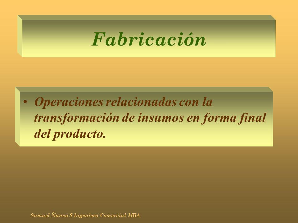 Fabricación Operaciones relacionadas con la transformación de insumos en forma final del producto. Samuel Ñanco S Ingeniero Comercial MBA
