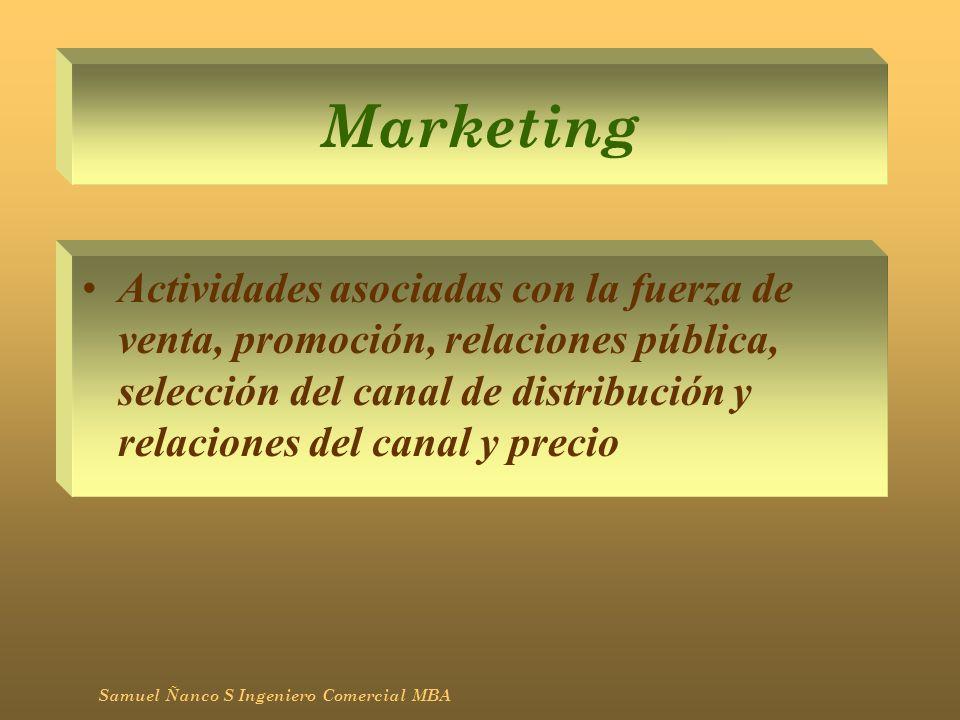 Marketing Actividades asociadas con la fuerza de venta, promoción, relaciones pública, selección del canal de distribución y relaciones del canal y pr