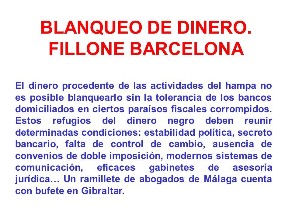 BLANQUEO DE DINERO. FILLONE BARCELONA El dinero procedente de las actividades del hampa no es posible blanquearlo sin la tolerancia de los bancos domi