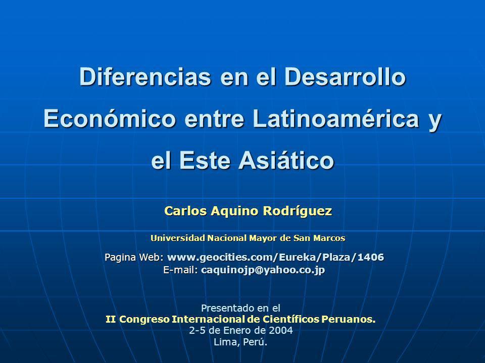 Diferencias en el Desarrollo Económico entre Latinoamérica y el Este Asiático Carlos Aquino Rodríguez Universidad Nacional Mayor de San Marcos Present