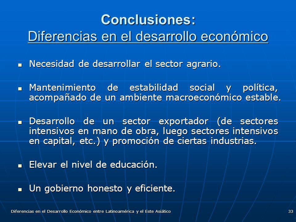 Diferencias en el Desarrollo Económico entre Latinoamérica y el Este Asiático33 Conclusiones: Diferencias en el desarrollo económico Necesidad de desa