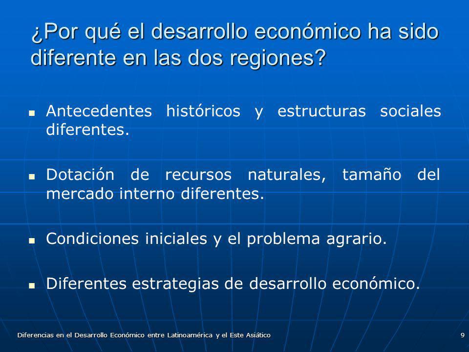 Diferencias en el Desarrollo Económico entre Latinoamérica y el Este Asiático9 ¿Por qué el desarrollo económico ha sido diferente en las dos regiones?