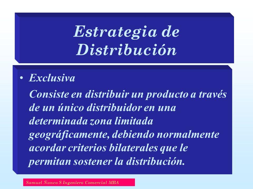 Estrategia de Distribución Exclusiva Consiste en distribuir un producto a través de un único distribuidor en una determinada zona limitada geográficam