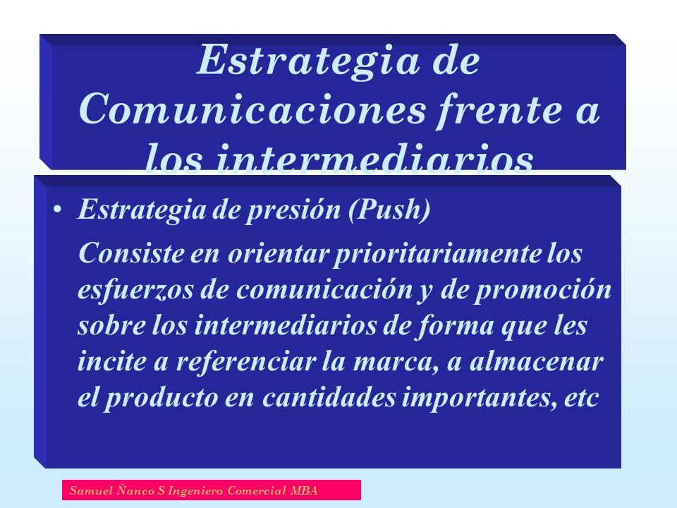 Estrategia de Comunicaciones frente a los intermediarios Estrategia de presión (Push) Consiste en orientar prioritariamente los esfuerzos de comunicac