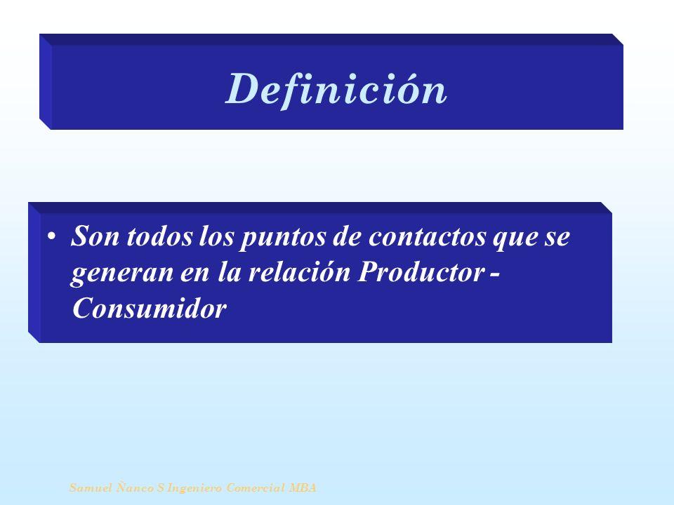 Definición Samuel Ñanco S Ingeniero Comercial MBA Son todos los puntos de contactos que se generan en la relación Productor - Consumidor